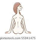 알몸으로 앉아 여성 일러스트 미용 이미지 55941475