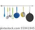 kitchen rack hanging with kitchen utensils 55941945