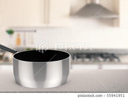 empty sauce pan on kitchen background 55941951
