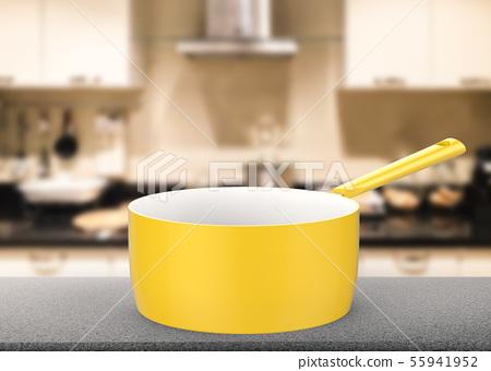 empty sauce pan on kitchen background 55941952