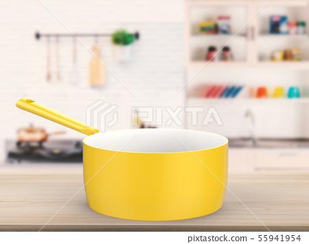 empty sauce pan on kitchen background 55941954