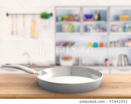 empty pan with kitchen background 55942052