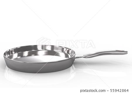 empty pan on white background 55942864