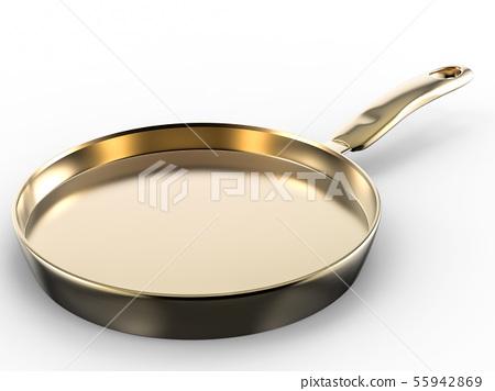 empty pan on white background 55942869