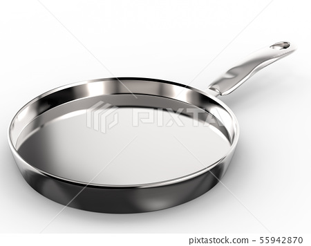 empty pan on white background 55942870