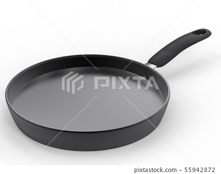 empty pan on white background 55942872