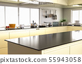 kitchen interior with empty counter 55943058