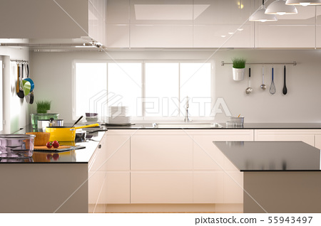 kitchen interior with empty counter 55943497