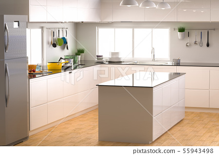 kitchen interior with empty counter 55943498