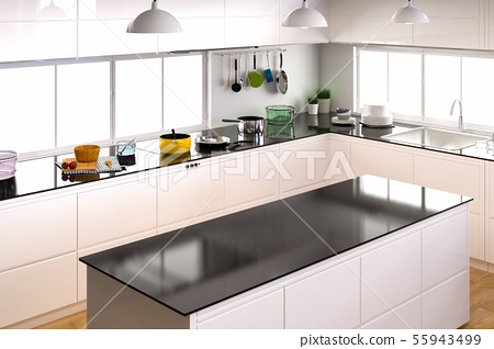 kitchen interior with empty counter 55943499