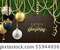 Merry Christmas postcard design, decorative balls, 55944036