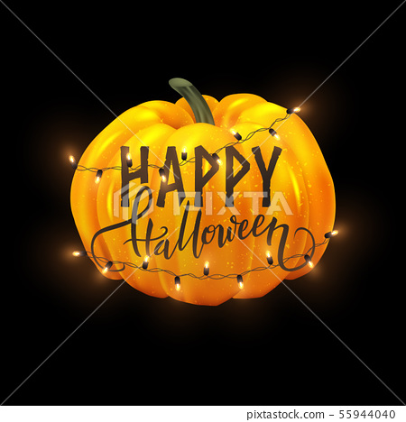 Happy Halloween postcard design, realistic pumpkin 55944040