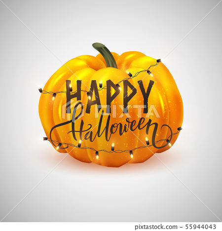 Happy Halloween postcard design, realistic pumpkin 55944043