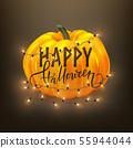 Happy Halloween postcard design, realistic pumpkin 55944044