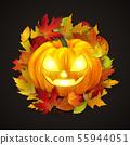 Happy Halloween postcard design, realistic pumpkin 55944051