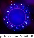 Zodiac signs icons in a circle, horoscope symbols, 55944680
