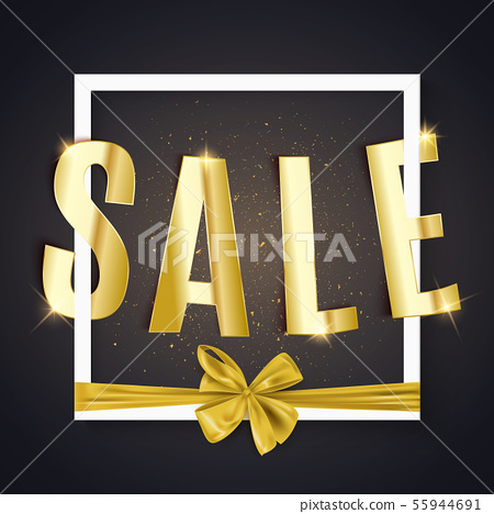 Gold sale text, advertisement banner with bow, 55944691