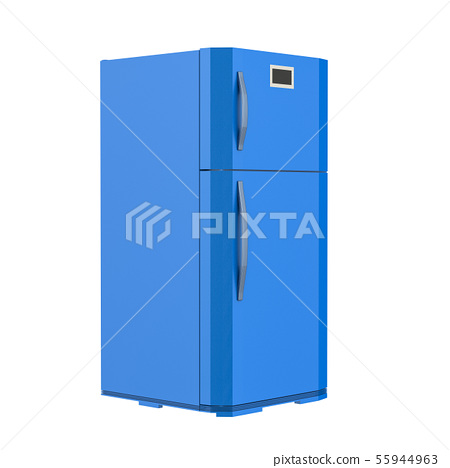 blue fridge isolated on white 55944963
