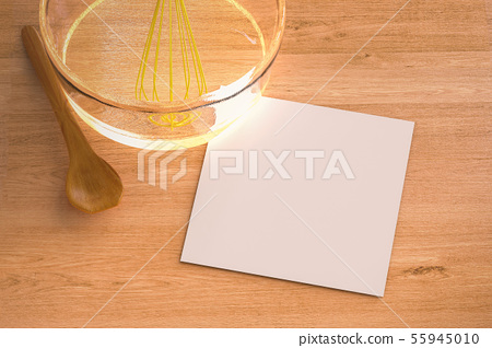 blank paper with wire whisk in a bowl 55945010
