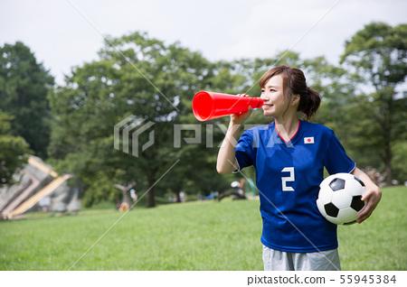 축구 팬 여성 55945384