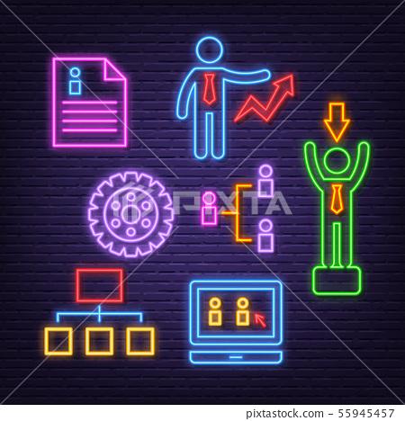 human resource neon icons 55945457