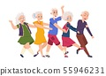 Old people dancing. Diverse elderly cartoon characters dancing a conga line, happy funny persons 55946231