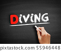 Diving text on blackboard 55946448