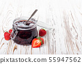 strawberry jam on table 55947562