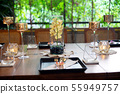 Dinner set on the wood table with long wine glass 55949757