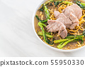 crispy egg noodles with chinese broccoli and pork 55950330