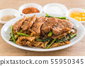 fried noodles with soy sauce and pork 55950345