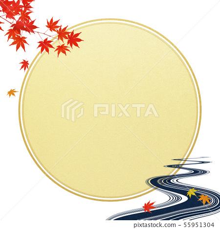 Background-Japanese-Japanese Style-Japanese Pattern-Japanese Paper-Tsukimi-Autumn Leaves-River-Autumn 55951304