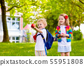 Kids on first school day 55951808
