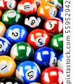Pool billiards color balls on green table 55952942
