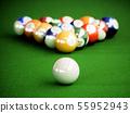 Billiard balls on a green pool table 55952943
