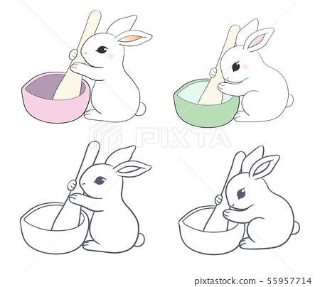 玉兔捣药-彩色和线条稿 55957714