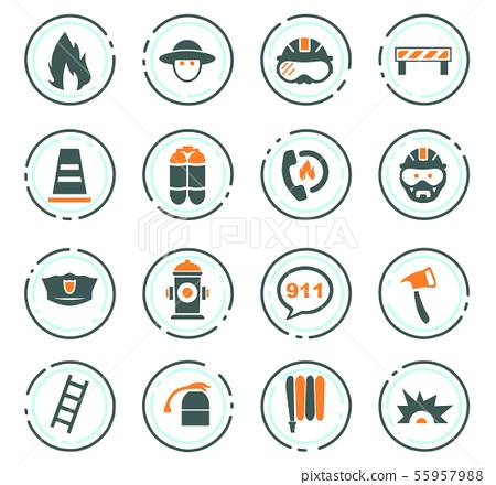 Fire brigade icons set 55957988