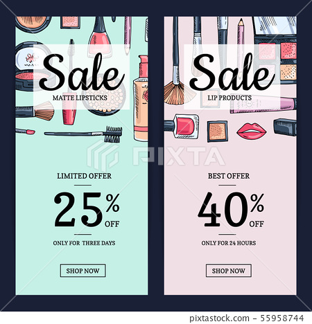 Vector Sale Banners For Beauty Shop With Hand Stock Illustration 55958744 Pixta