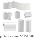 Different rolls of blank toilet papers. Vector illustration set 55958808