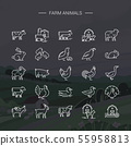 Modern farm animals symbols linear icons set of 25 icons drawn in vector and isolated on background 55958813