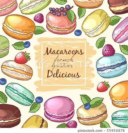 Poster with colored illustrations of macaroons. Background with food pictures and place for your 55958876