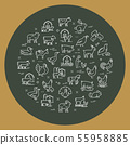 Circular vector set of farm animals that are great for illustrations, infographics, and logos 55958885