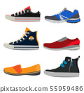 Teenage sports shoes. Colorful sneakers at different styles. Vector illustrations set in cartoon 55959486