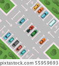Vector diagonal view parking with places for disabled people 55959693