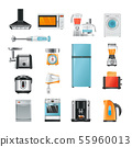 Different household in cartoon style. Electrical equipment for kitchen 55960013