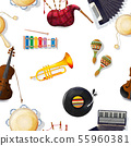 Watercolor musical instruments pattern 55960381