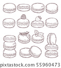 Hand drawn illustrations of paris cuisine. Delicious macaroons with different tastes 55960473