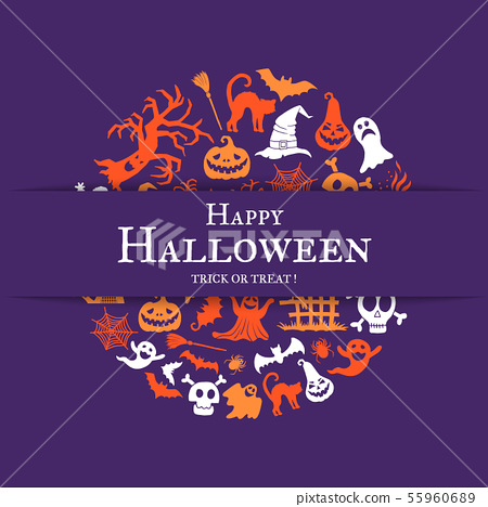 Vector halloween background with place for text with cricle of creepy witches, ghosts and pumpkins 55960689