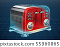 Visualization 3d cad model of retro toaster 55960865