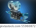 Visualization 3d cad model of old movie camera 55960872